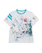 Short-Sleeve Sailing Print T-Shirt, Size 4-14