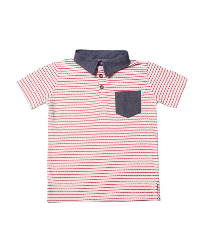 Stripe Jersey Polo Shirt, Size 2-8