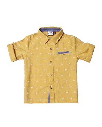 Collared Cotton-Blend Gator Shirt, Size 2-8