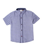 Ace Patterned Collared Shirt, Size 2-8