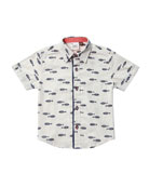 Fly Fish Collared Short-Sleeve Shirt, Size 2-8 Months