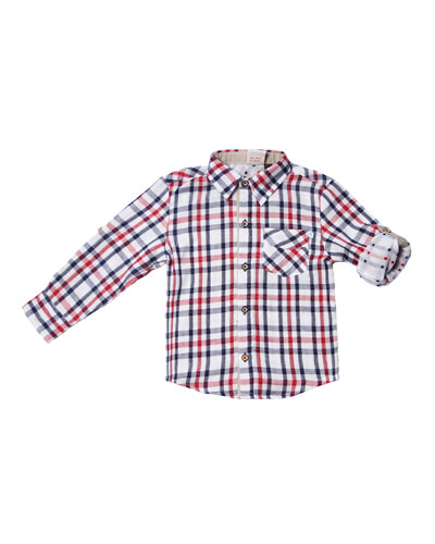 Long-Sleeve Collared Plaid Shirt, Size 2-8
