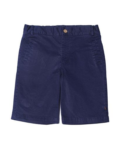 Cotton-Stretch Shorts, Blue, Size 2-8