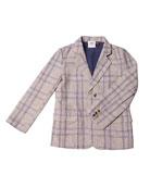 Cotton-Blend Plaid Blazer, Size 2-8