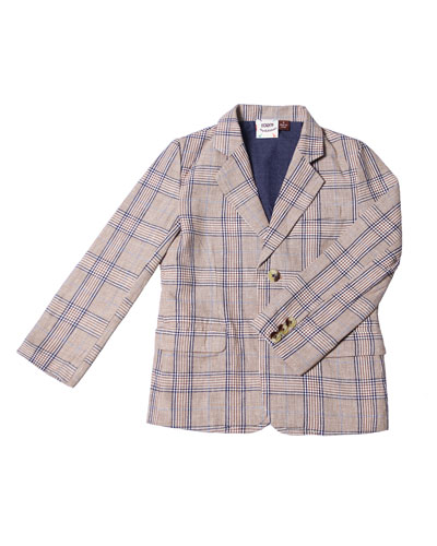 Cotton-Blend Plaid Blazer, Size 2-8