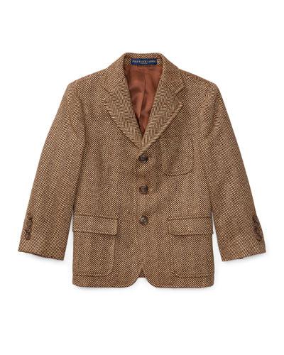 Princeton Herringbone Wool-Silk Blazer, Size 4-7