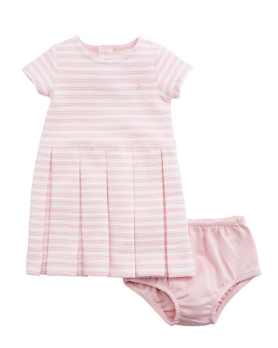 Structured Knit Stripe Dress w/ Bloomers, Size 9-24 Months