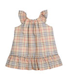 Taia Flutter-Sleeve Check Dress, Size 1-24 Months