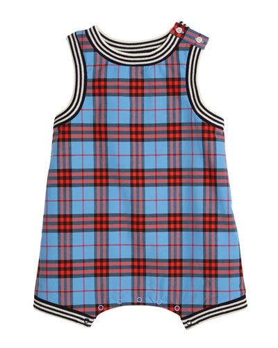 Michael Check Playsuit w/ Ribbed Knit Trim, Size 1-24 Months