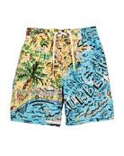 Ben Seaside-Print Swim Trunks, Size 4-14