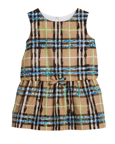 Maybel Drawstring Check Dress, Size 6M-3