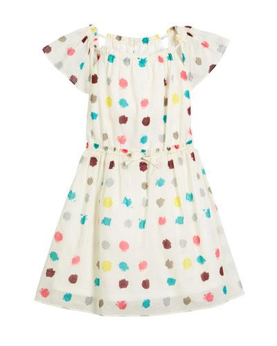 Maria Dot-Print Drawstring-Waist Dress, Size 4-14