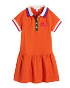 Calin Polo Dress w/ Contrast Multi Trim, Size 4-14