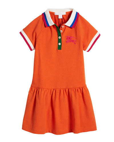 Calin Polo Dress w/ Contrast Multi Trim, Size 4-14