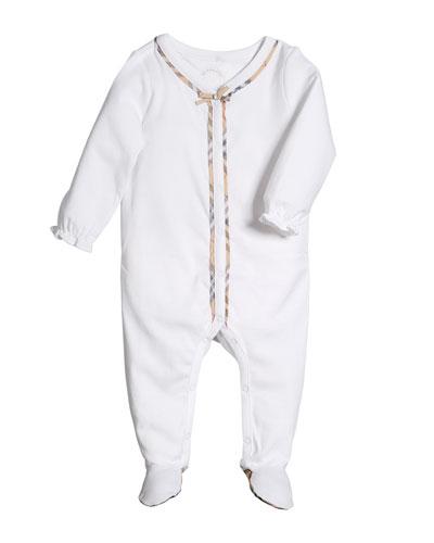 Jacey Check-Trim Footie Pajamas, Size 1-9 Months