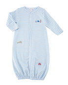 Little Railroad Striped Convertible Pima Gown, Size Newborn-S