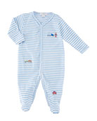 Little Railroad Striped Footie Playsuit, Size Newborn-9 Months