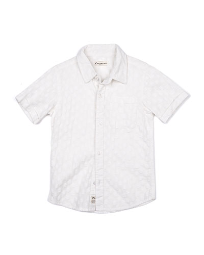 Short-Sleeve Tonal Pattern Beach Shirt, Size 2-14