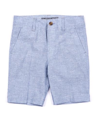 Linen-Blend Trouser Shorts, Size 2-14