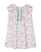 Polka-Dot Cotton Dress w/ Cross-Stitch Detail, Size 8