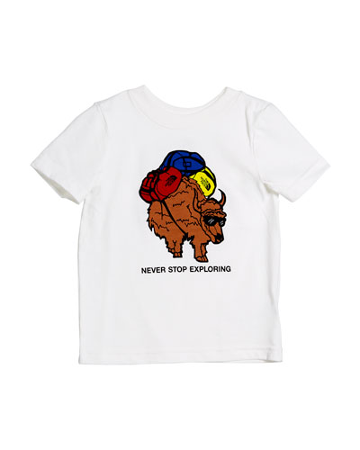 Never Stop Exploring Pack Buffalo Tee, Size 2-4T