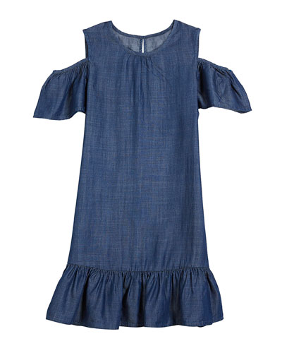 cold-shoulder chambray dress, size 7-14
