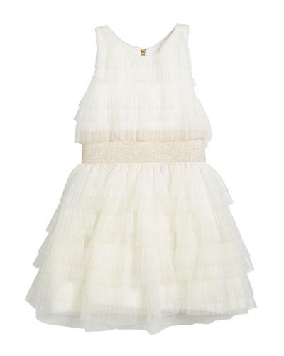 Layered Ruffle Tulle Dress w/ Metallic Elastic Waist, Size 7-16