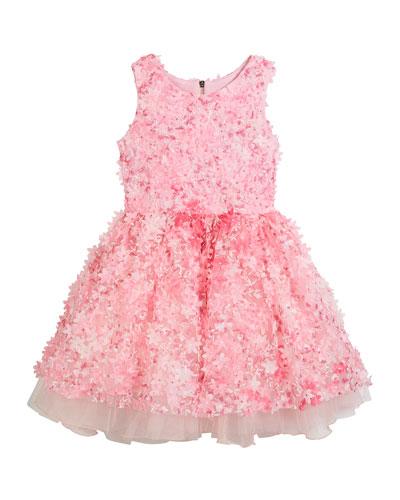 3D Flower Party Dress, Size 7-16