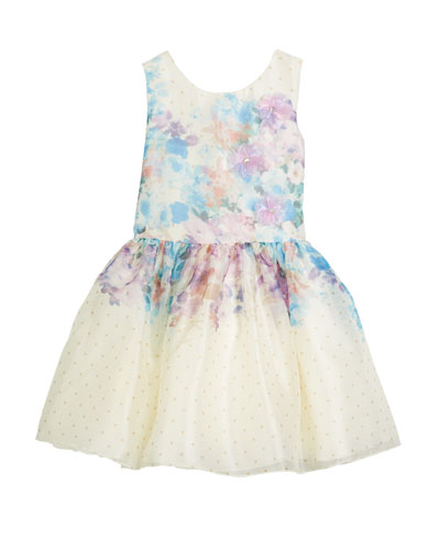 Ombré Floral Party Dress, Size 4-6X