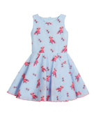Textured Floral Organza Pocket Dress, Size 2-6X