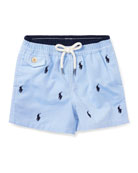 Traveler Logo Swim Trunks, Size 9-24 Months