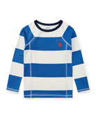 Striped Rashguard Coverup Swim Shirt, Sizes 5-7