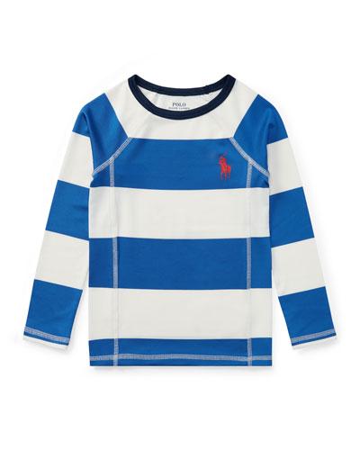 Striped Rashguard Coverup Swim Shirt, Sizes 5-7