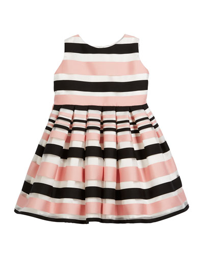 Satin Stripe Dress, Size 12-18 Months