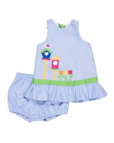 Stripe Birdhouse Dress w/ Bloomers, Size 3-24 Months