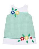 Seersucker Check A-Line Dress w/ Flowers, Size 2-6