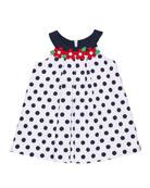 Polka-Dot Pique Dress w/ Flowers, Size 9-24 Months