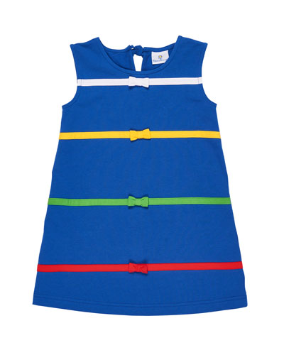 Multicolored Bands & Bow A-Line Dress, Size 2-6X