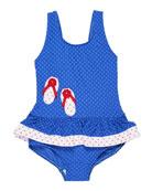 Jacquard Dot Ruffle One-Piece Swimsuit, Size 2-6X