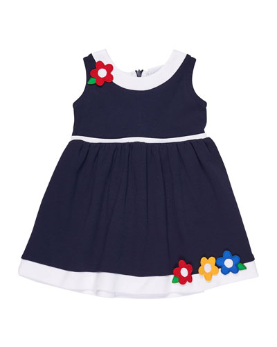 Sleeveless Interlock Knit Dress w/ Flowers, Size 2-6