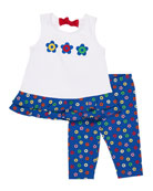 Sleeveless Ruffle Top w/ Lifesaver-Print Leggings, Size 2-6X