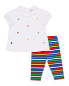 Lifesaver Scalloped-Collar Top w/ Striped Leggings, Size 12-24 Months