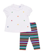 Lifesaver Scalloped-Collar Top w/ Striped Leggings, Size 2-4