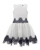 Two-Tone Circle Eyelet Sleeveless Dress, Size 4-10