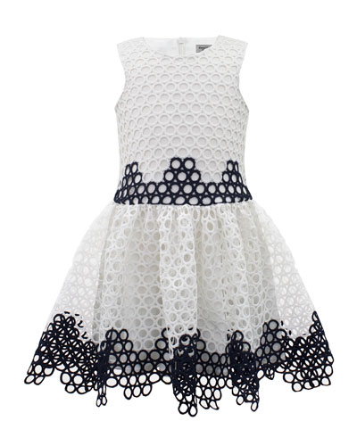 Two-Tone Circle Eyelet Sleeveless Dress, Size 4-10