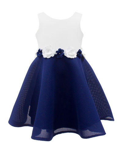 Two-Tone Mesh Dress w/ Flower Waist, Size 4-10
