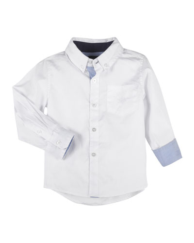 Button-Down Oxford Shirt w/ Contrast Rolled Cuffs, Size 2-7