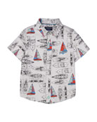 Vintage Sailboat Short-Sleeve Collared Shirt, Size 2-7