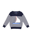Stripe Sailboat Knit Sweater, Size 2-7