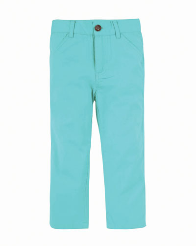 Straight-Leg Twill Pants, Size 2-7